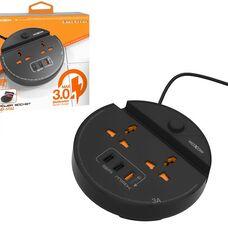 Сетевой фильтр MOXOM Power Socket MX-ST03, черный, 2 розетки, 3USB за 5 280 тнг.