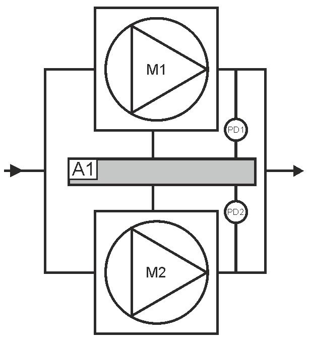 Схема вентиляционной установки с резервным вентилятором и КР21